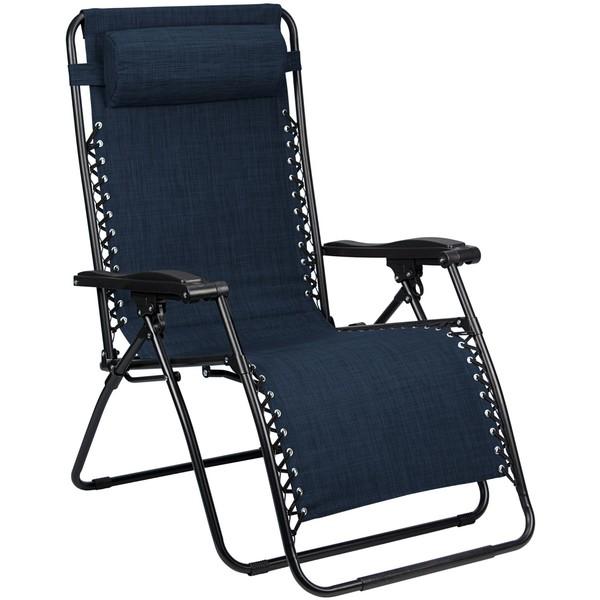 Abbey Camp campingstoel Chaise Longue Padding 90 x 75 x 112 cm marineblauw
