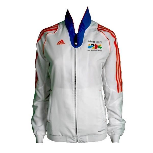 Adidas Sportjack Team Nederland dames wit-oranje maat XXS