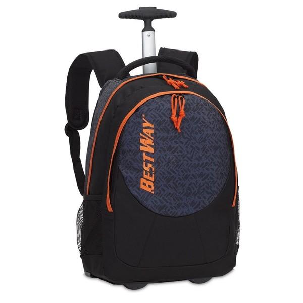 Bestway trolley rugzak zwart-donkerblauw-oranje 25 liter
