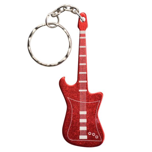 KeyGear flessenopener sleutelhanger gitaar 8 cm rood