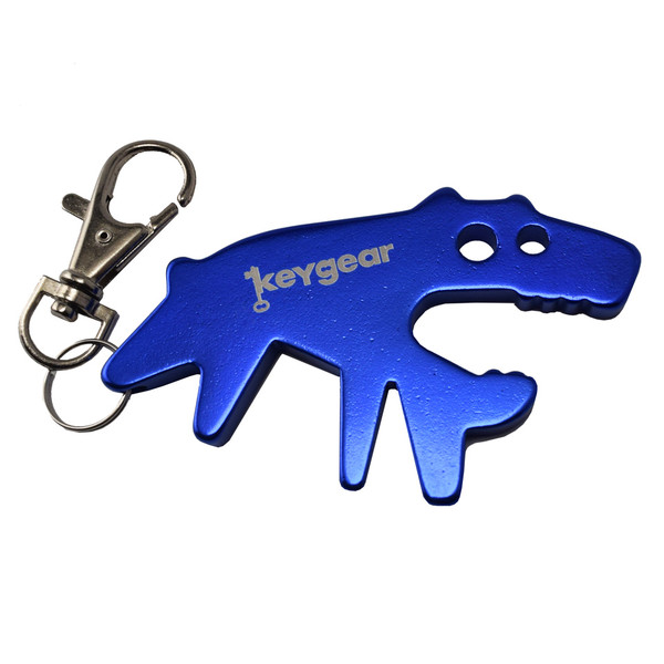 KeyGear flessenopener sleutelhanger hond 7 cm blauw