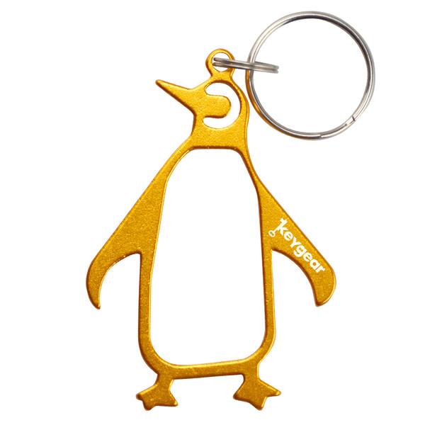 KeyGear flessenopener sleutelhanger pinguïn 8 cm goud