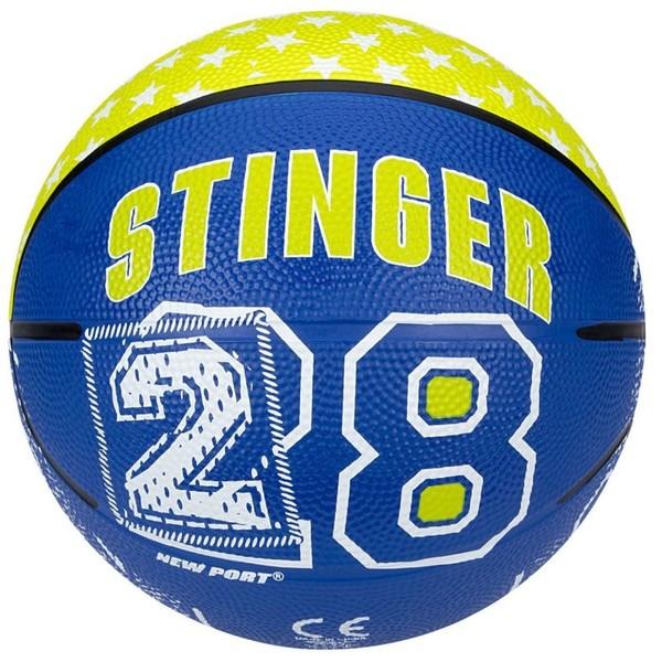 New Port Mini Basketbal Met Print Blauw/Fluorgeel Maat 3 kopen? Sport & Casuals met voordeel vind je hier