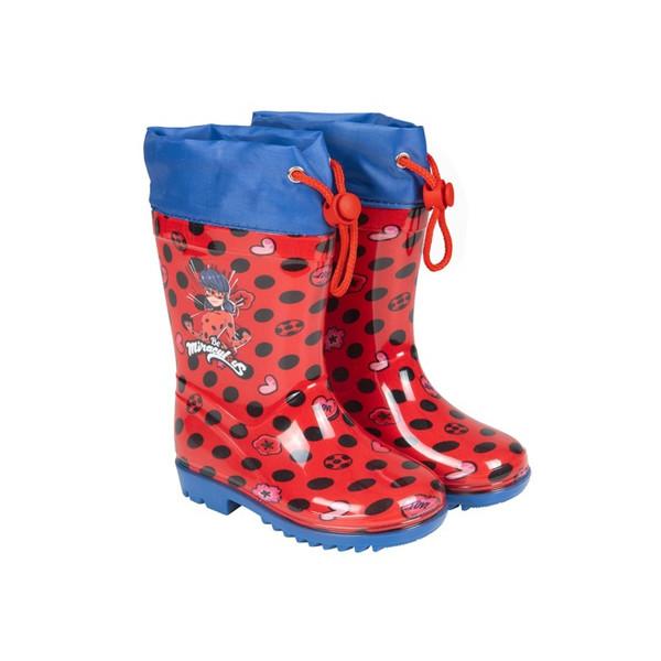 Perletti regenlaarzen Lady Bug junior rubber rood/blauw /25