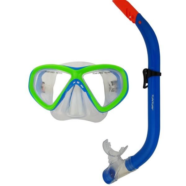 Tunturi Duikbril En Snorkel Set Junior Blauw-Groen Set