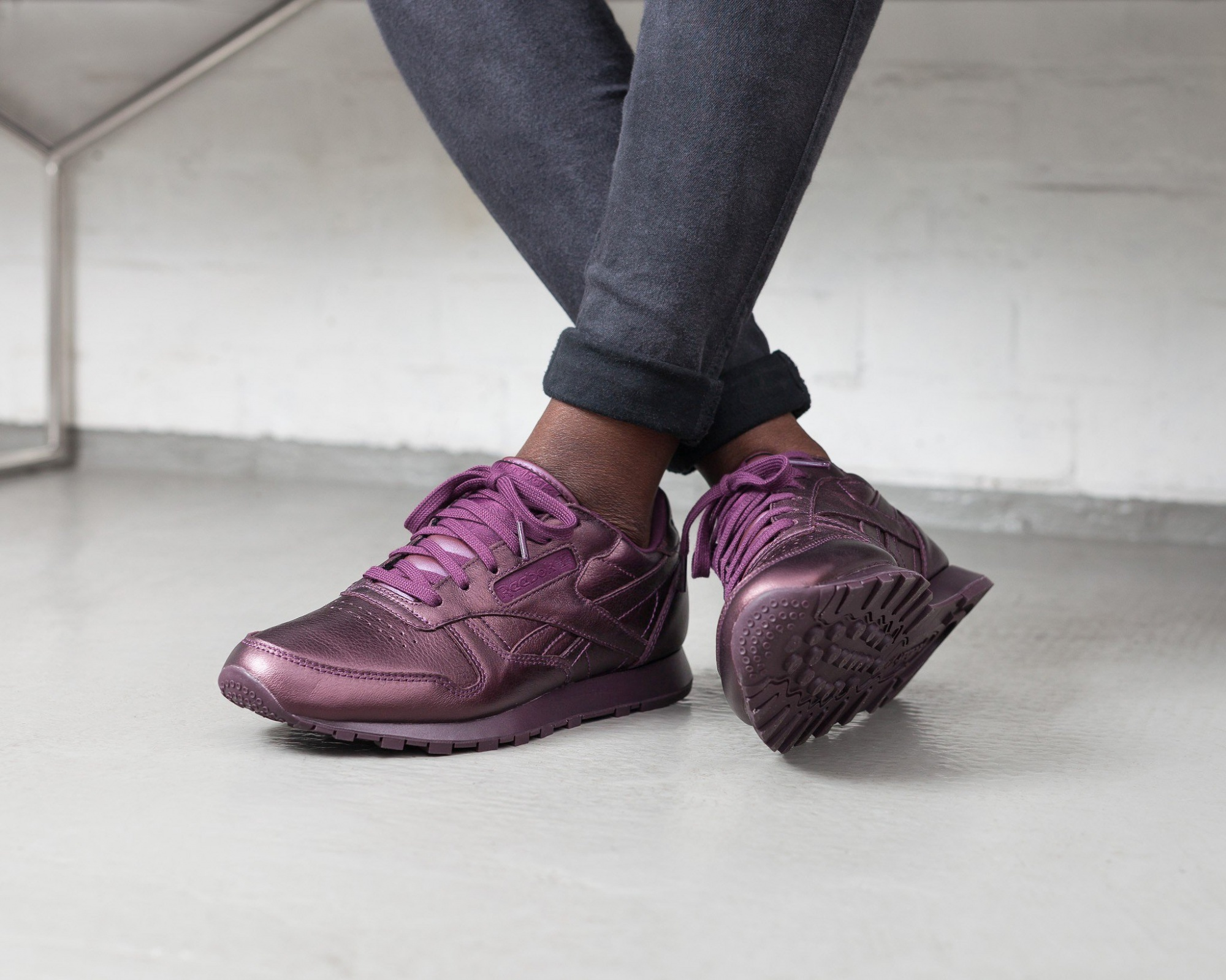quite nice 7b598 c73ff ... Reebok Classic Leather Fashion sneakers ladies purple