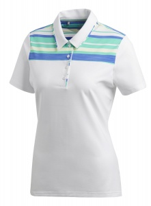 adidas golfpolo Ultimate dames wit/blauw/groen