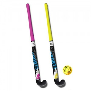 Angel Sports hockeyset 3-delig roze/geel 33 inch