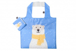 Any Bags foldable shopper polar bear 48 cm blue