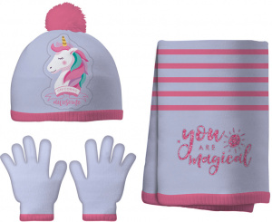 Arditex winterset Unicorn junior polyester roze/paars 3-delig
