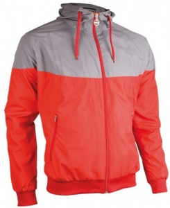 Avento Sport Jacket With Hood Unisex Red / Grey