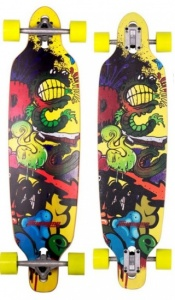 Awesome Longboard 36 Inch Graffity Worm multicolor