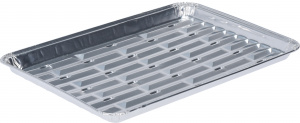 BBQ serving tray set 24 x 16 cm aluminium silver 4 pieces