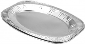 BBQ serving dish set aluminium 35 x 23,5 x 1 cm 2 pieces silver