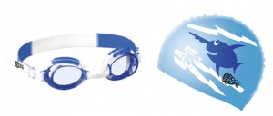 Beco swimming set with swimming goggles and swimming cap blue