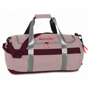 Bench travel/sports bag 47 x 26 x 26 cm polyester/artificial leather pink