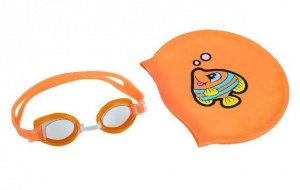 Bestway swimming goggles with swimming cap junior orange