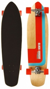 Black Dragon Kicktail Longboard Combat Kick 36 Inch Rood