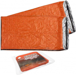 Bramble survival sleeping bag 213 x 91 cm polyethylene orange