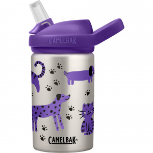 CamelBak drinkfles Eddy+ Kids Cats & Dogs 400 ml RVS grijs/paars
