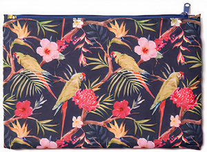 Cedon etui vogels meisjes 23 x 15 cm polyester donkerblauw/rood