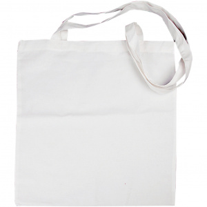 Creative Cotton bag with long handle 38 x 42 cm white