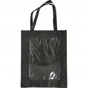 Creative bag with plastic front 42 x 34 x 12 cm black