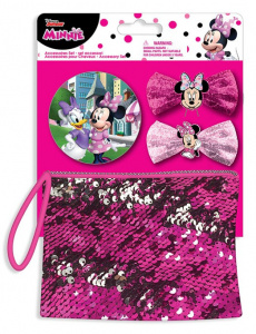 Disney wallet and hair pins Minnie Mouse pink 4-piece