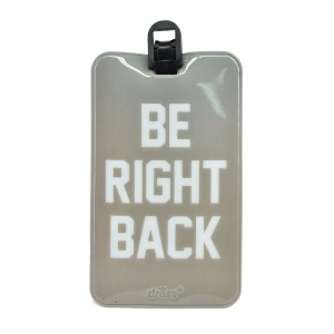 Dresz kofferlabel Be right back PU-leer 11 x 7 cm grijs