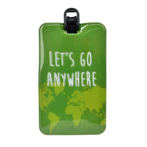 Dresz kofferlabel Let's go anywhere PU-leer 11 x 7 cm groen