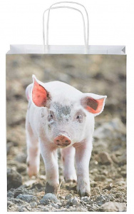 Esschert Design shopping bag Pig 8,4 litres paper size S