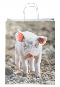 Esschert Design shopping bag Pig 19,2 litre paper size L