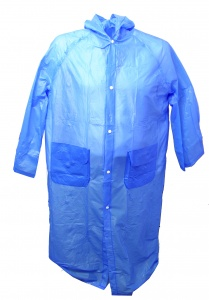 Free and Easy rain poncho long with hood unisex blue