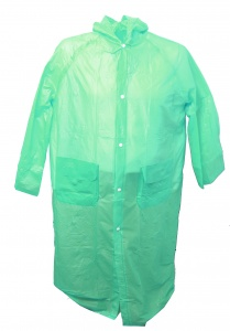 Free and Easy rain poncho long with hood unisex green
