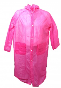 Free and Easy rainponcho long avec capuche unisexe rose