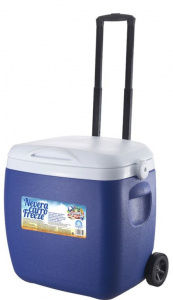 Gerimport cool box on wheels 53 cm 18 litres blue/white