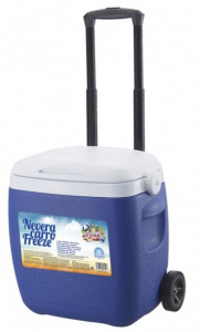 Gerimport cool box on wheels 92 cm 18 litres blue/white
