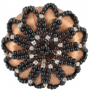 HORKA knotnet Deluxe pearls and rhinestones polyester black