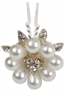 HORKA hairpins Deluxe Flower pearl silver
