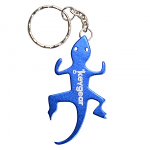 KeyGear bottle opener key ring iguana 8 cm blue