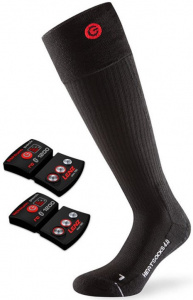 Lenz heated socks with battery 4.0 nylon/wool black/red