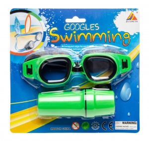 LG-Imports swimming goggles with green glasses case