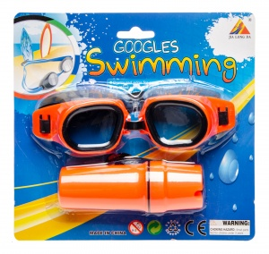 LG-Imports swimming goggles with glasses case orange