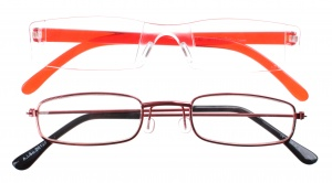 Lifetime-Vision reading glasses unisex red 2 pieces