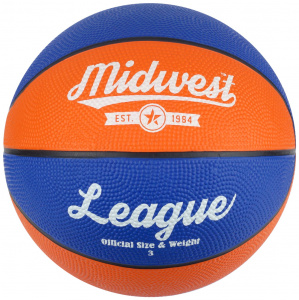 Midwest basketball League rubber blauw/oranje maat 3