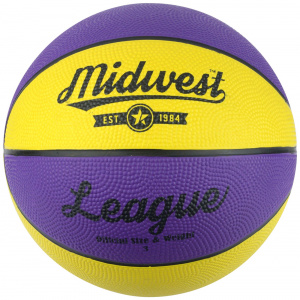 Midwest basketball League rubber geel/paars maat 5