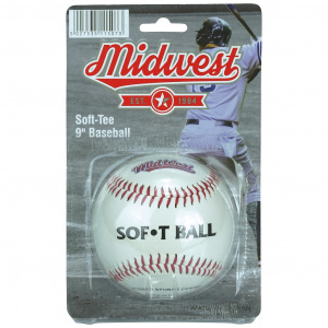 Midwest softbal Soft Tee 9 inch rubber wit/rood
