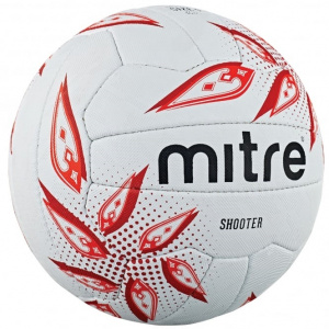 Mitre netbal Shooter rubber wit/rood maat 5