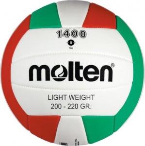 Molten trainingsvolleybal 1400 light rood/groen/wit maat 5