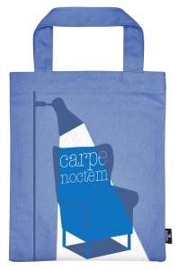Moses bookbag Carpe Noctem 20 x 25 cm cotton blue